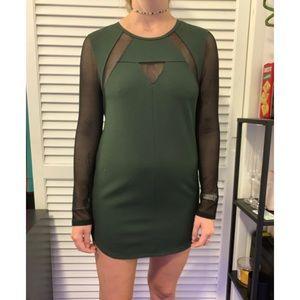 dark green and black mesh long sleeve dress